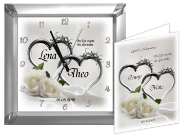 rosenhochzeit geschenk zum 10 hochzeitstag eckige rosenhochzeitsuhr. Black Bedroom Furniture Sets. Home Design Ideas