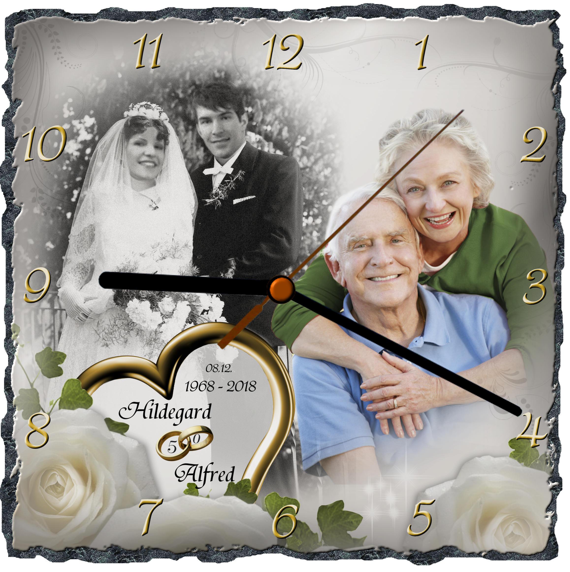 Schieferuhr Die Geschenkidee Zur Goldenen Hochzeit