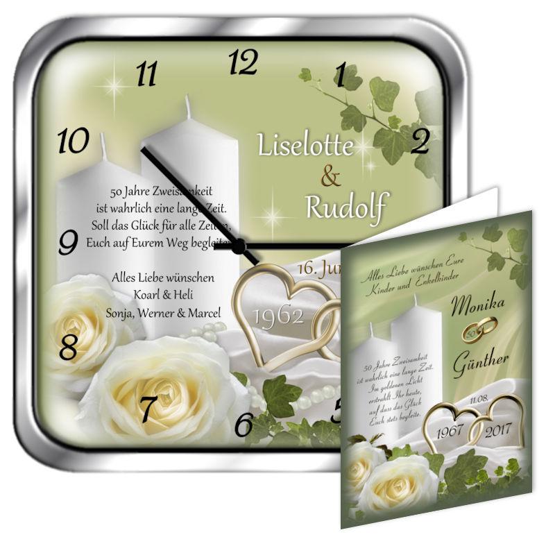 Beliebtes Geschenk Zur Goldenen Hochzeit Metalluhr Eckig Motiv 12