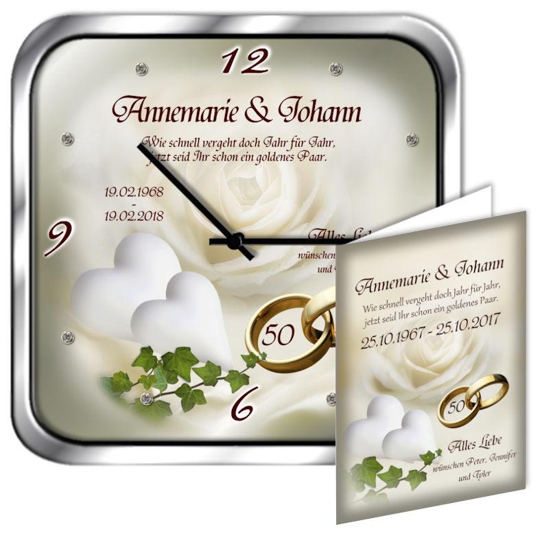 50 Hochzeitstag Geschenk Metalluhr Eckig Motiv 8fotouhr