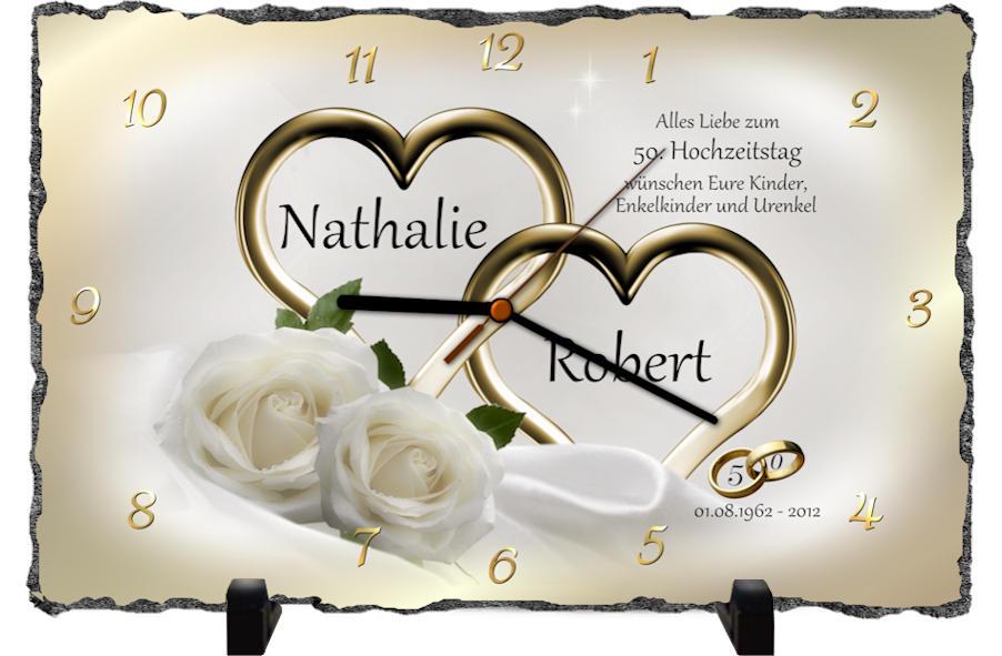 Goldene Hochzeit Geschenk Rechteckige Schiefertafel Als Uhr