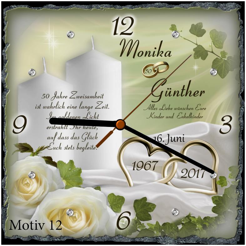 Geschenk Zur Goldenen Hochzeit Schieferplattenuhr Motiv