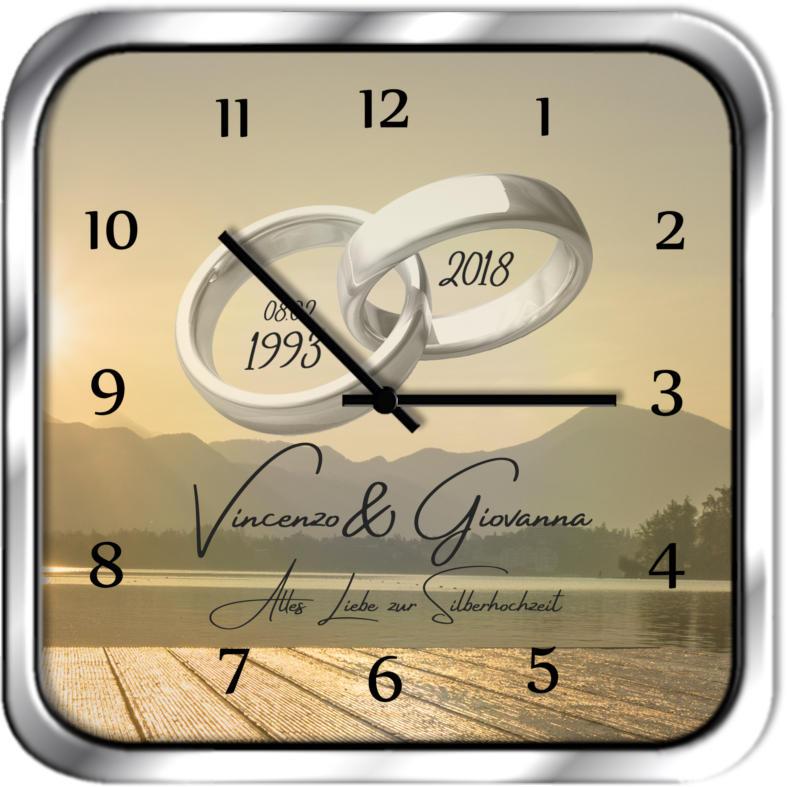 Originelle Uhr als Geschenk zur Silberhochzeit 30x30 M9