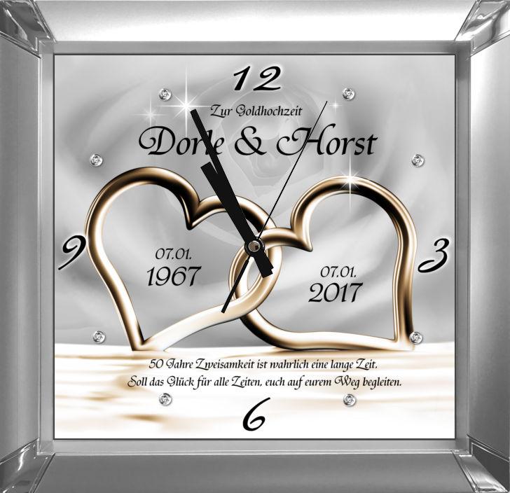 Geschenk Zur Goldenen Hochzeit Motivuhr Mit Namen Und Spruch Zur