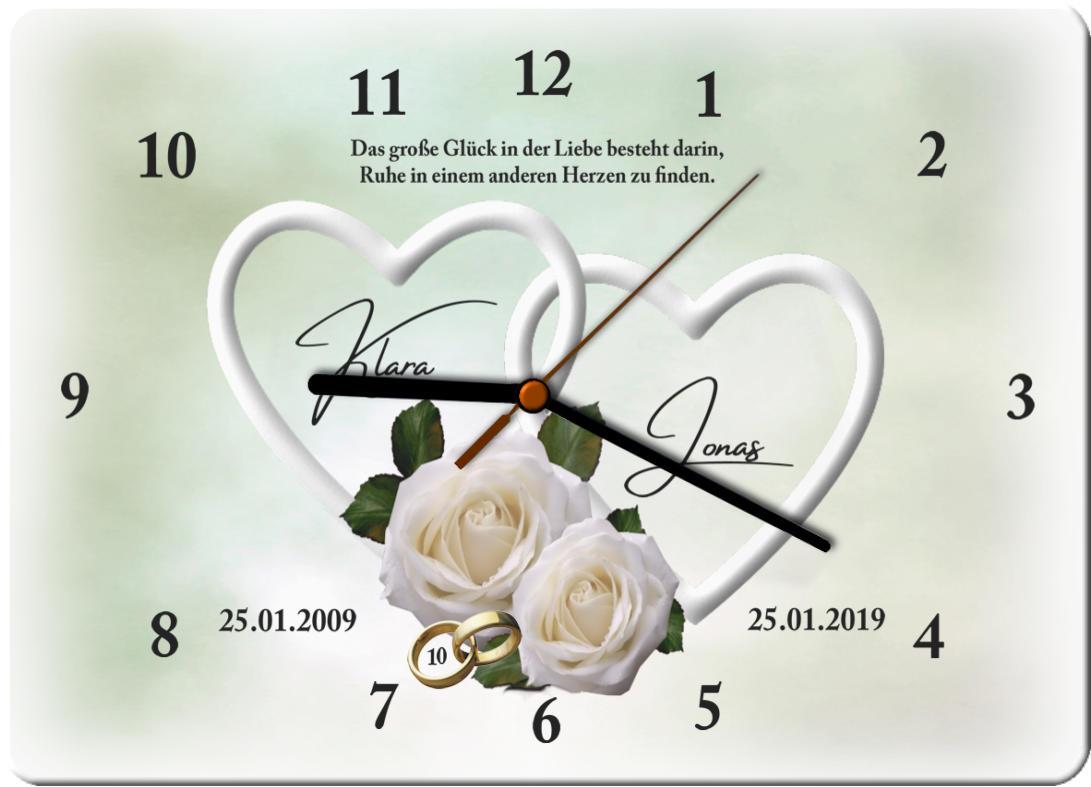 10 Hochzeitstag Moderner Druck Auf Hochwertigem Fotopaneel Uhr M8