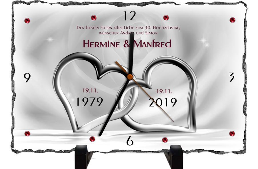 40 Hochzeitstag Originelles Geschenk Schieferuhr Oder Schieferbild